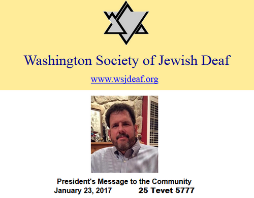 Washington Society of Jewish Deaf - from the President